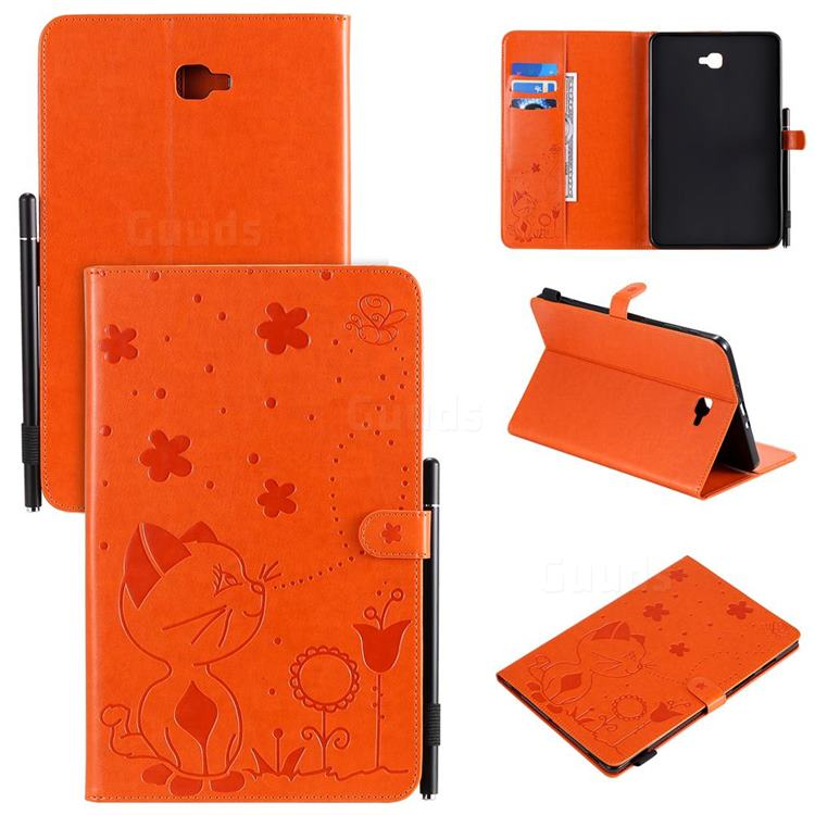 Embossing Bee and Cat Leather Flip Cover for Samsung Galaxy Tab A 10.1 T580 T585 - Orange