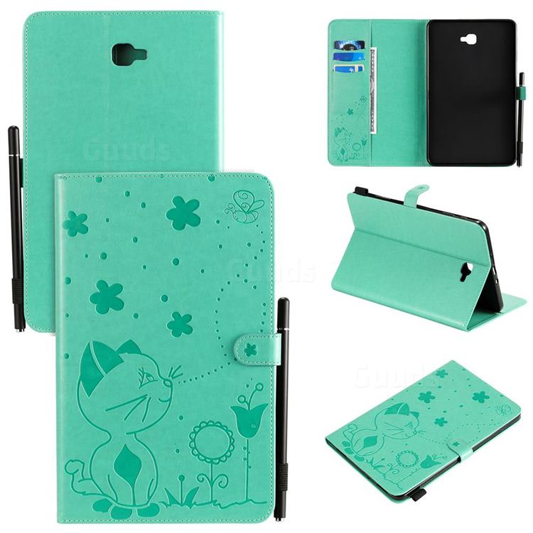 Embossing Bee and Cat Leather Flip Cover for Samsung Galaxy Tab A 10.1 T580 T585 - Green