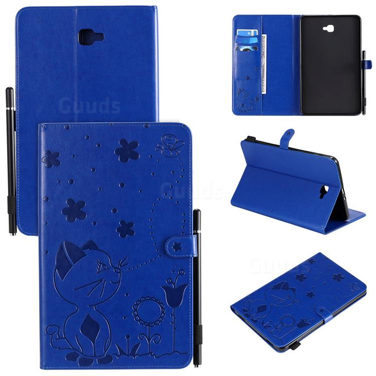 Embossing Bee and Cat Leather Flip Cover for Samsung Galaxy Tab A 10.1 T580 T585 - Blue