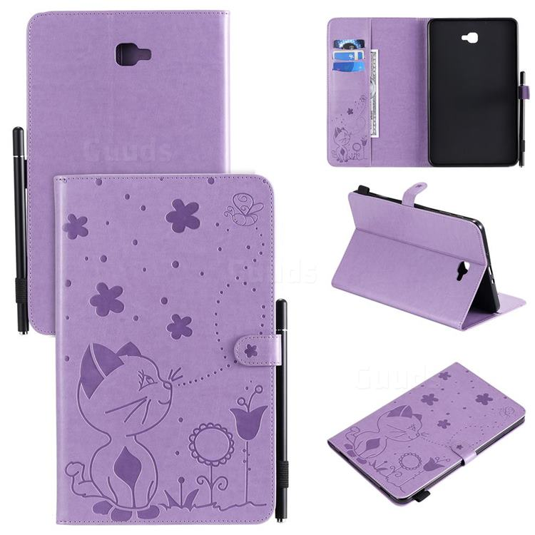 Embossing Bee and Cat Leather Flip Cover for Samsung Galaxy Tab A 10.1 T580 T585 - Purple