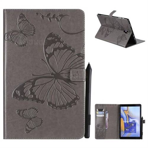 Embossing 3D Butterfly Leather Wallet Case for Samsung Galaxy Tab A 10.5 T590 T595 - Gray