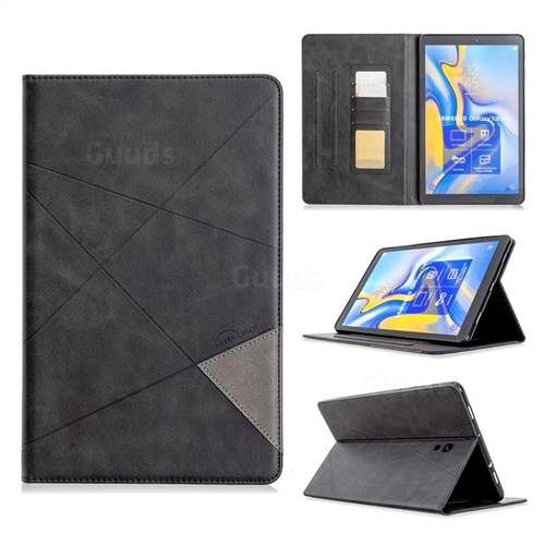Binfen Color Prismatic Slim Magnetic Sucking Stitching Wallet Flip Cover for Samsung Galaxy Tab A 10.5 T590 T595 - Black