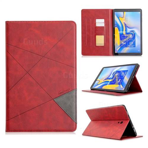 Binfen Color Prismatic Slim Magnetic Sucking Stitching Wallet Flip Cover for Samsung Galaxy Tab A 10.5 T590 T595 - Red