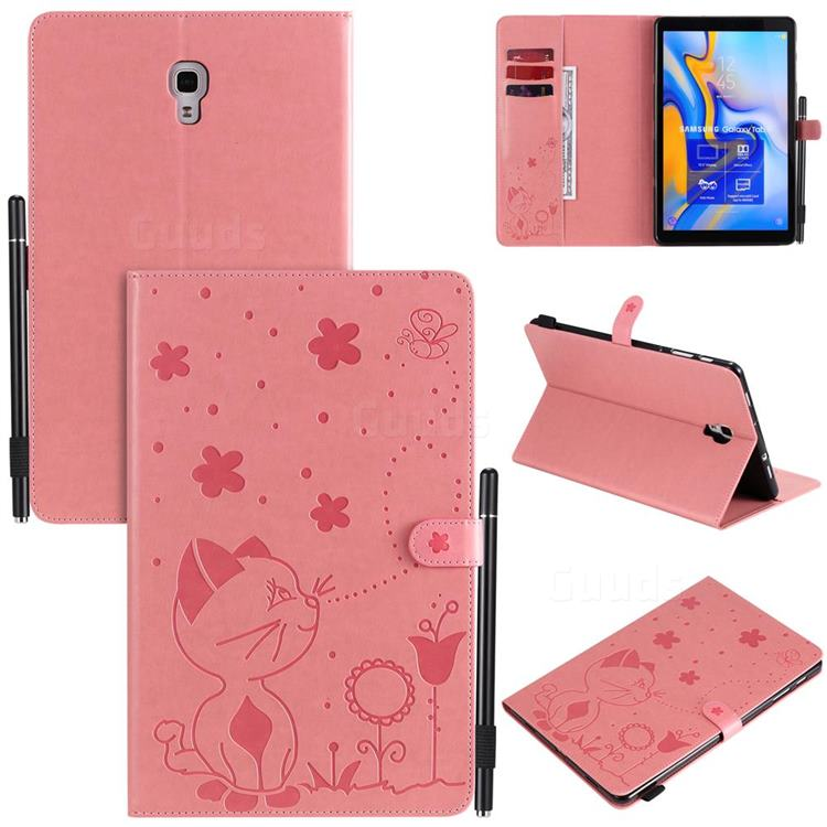 Embossing Bee and Cat Leather Flip Cover for Samsung Galaxy Tab A 10.5 T590 T595 T597 - Pink