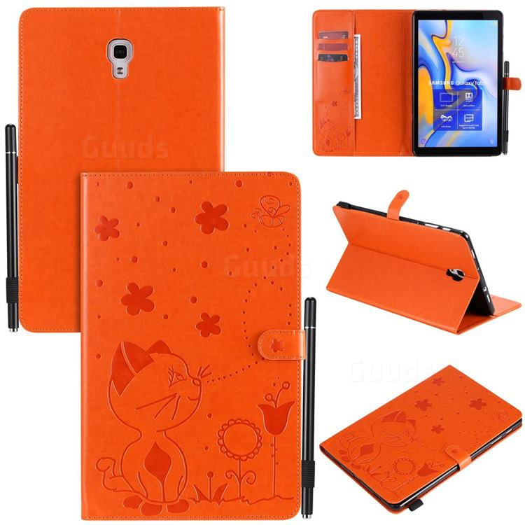 Embossing Bee and Cat Leather Flip Cover for Samsung Galaxy Tab A 10.5 T590 T595 T597 - Orange