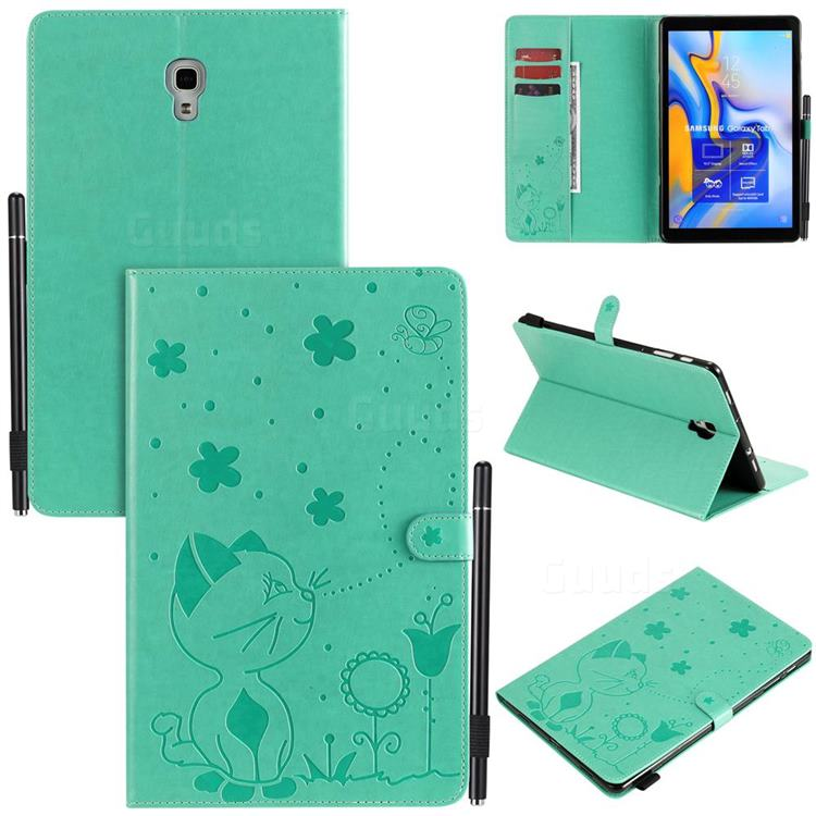 Embossing Bee and Cat Leather Flip Cover for Samsung Galaxy Tab A 10.5 T590 T595 T597 - Green