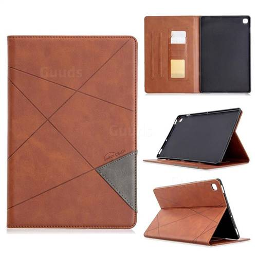 Binfen Color Prismatic Slim Magnetic Sucking Stitching Wallet Flip Cover for Samsung Galaxy Tab S5e 10.5 T720 T725 - Brown