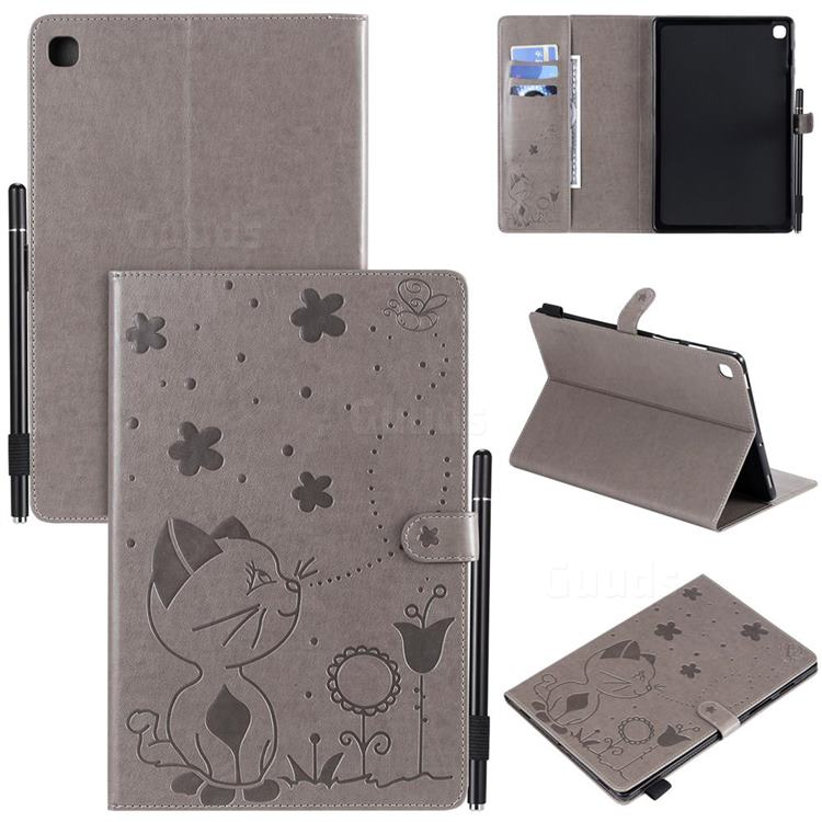 Embossing Bee and Cat Leather Flip Cover for Samsung Galaxy Tab S5e 10.5 T720 T725 - Gray