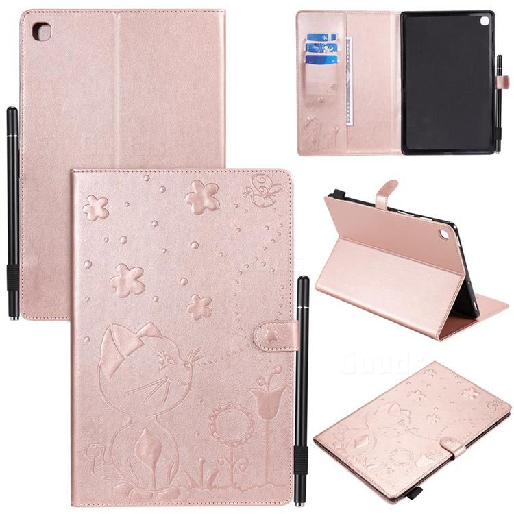 Embossing Bee and Cat Leather Flip Cover for Samsung Galaxy Tab S5e 10.5 T720 T725 - Rose Gold