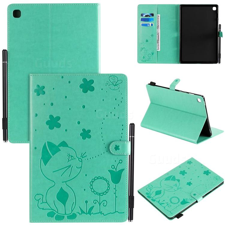 Embossing Bee and Cat Leather Flip Cover for Samsung Galaxy Tab S5e 10.5 T720 T725 - Green