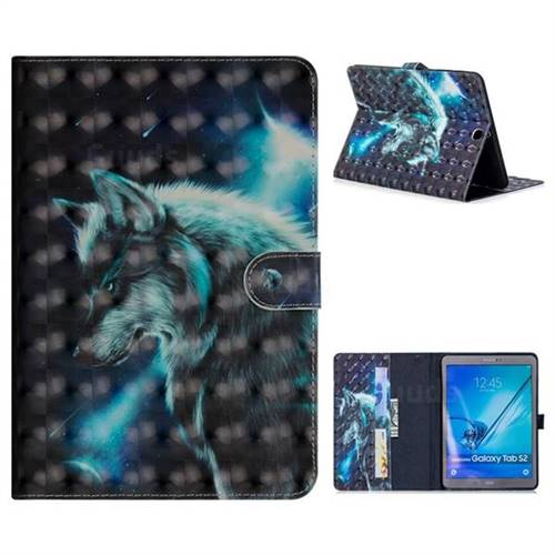Snow Wolf 3D Painted Leather Tablet Wallet Case for Samsung Galaxy Tab S2 9.7 T810 T815 T819