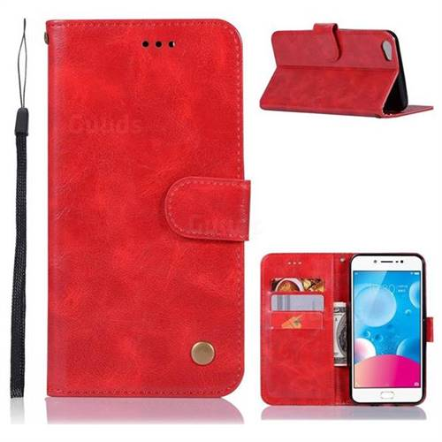 Luxury Retro Leather Wallet Case for Vivo V5 Lite(Vivo Y66) - Red