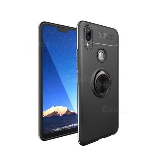 Auto Focus Invisible Ring Holder Soft Phone Case for Vivo V9 - Black