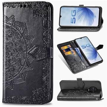 Embossing Imprint Mandala Flower Leather Wallet Case for Vivo S6 5G - Black