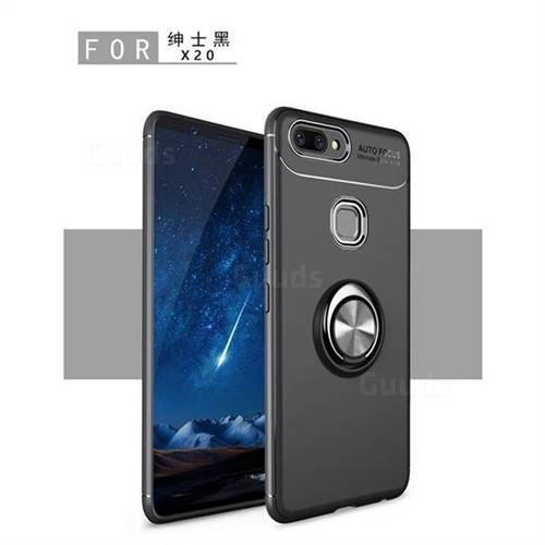 Auto Focus Invisible Ring Holder Soft Phone Case for Vivo X20 - Black
