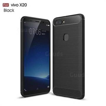 Luxury Carbon Fiber Brushed Wire Drawing Silicone TPU Back Cover for Vivo X20 - Black