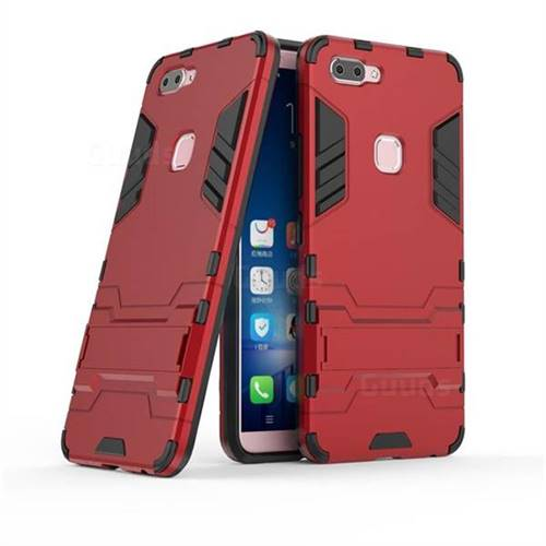 Armor Premium Tactical Grip Kickstand Shockproof Dual Layer Rugged Hard Cover for Vivo X20 - Wine Red