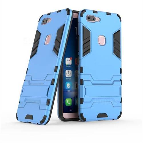 Armor Premium Tactical Grip Kickstand Shockproof Dual Layer Rugged Hard Cover for Vivo X20 - Light Blue