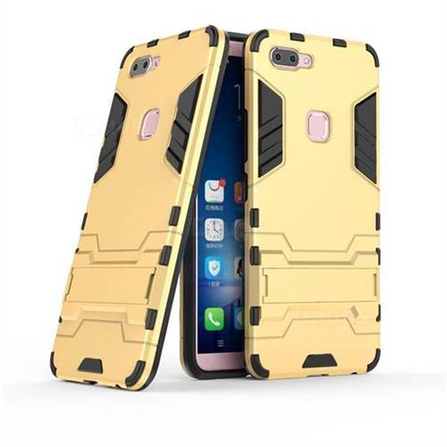 Armor Premium Tactical Grip Kickstand Shockproof Dual Layer Rugged Hard Cover for Vivo X20 - Golden