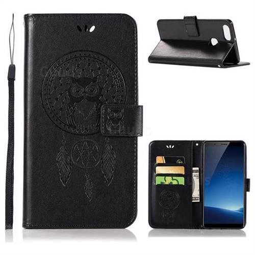 Intricate Embossing Owl Campanula Leather Wallet Case for Vivo X20 Plus - Black