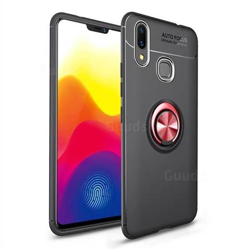 Auto Focus Invisible Ring Holder Soft Phone Case for vivo X21 - Black Red