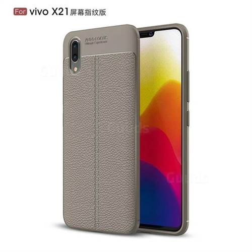Luxury Auto Focus Litchi Texture Silicone TPU Back Cover for vivo X21 UD - Gray