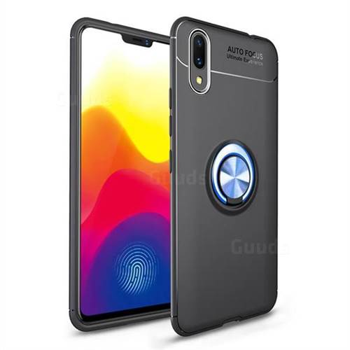 Auto Focus Invisible Ring Holder Soft Phone Case for vivo X21 UD - Black Blue