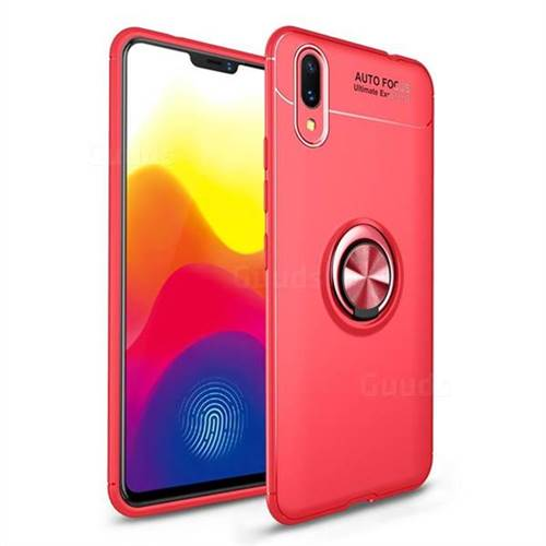 Auto Focus Invisible Ring Holder Soft Phone Case for vivo X21 UD - Red