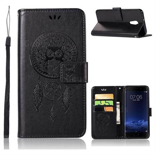 Intricate Embossing Owl Campanula Leather Wallet Case for Vivo Xplay6 - Black