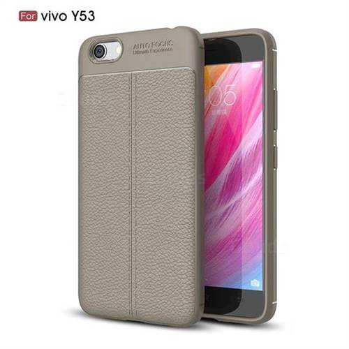 Luxury Auto Focus Litchi Texture Silicone TPU Back Cover for Vivo Y53 - Gray