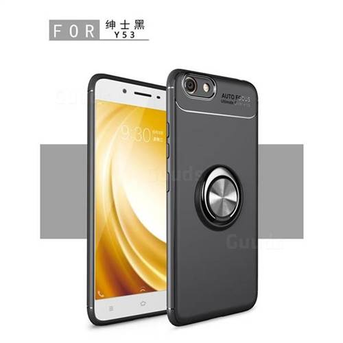 Auto Focus Invisible Ring Holder Soft Phone Case for Vivo Y53 - Black