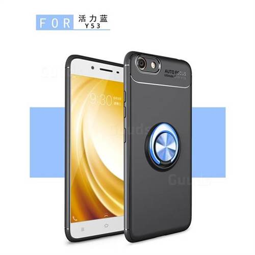 Auto Focus Invisible Ring Holder Soft Phone Case for Vivo Y53 - Black Blue