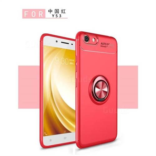 Auto Focus Invisible Ring Holder Soft Phone Case for Vivo Y53 - Red