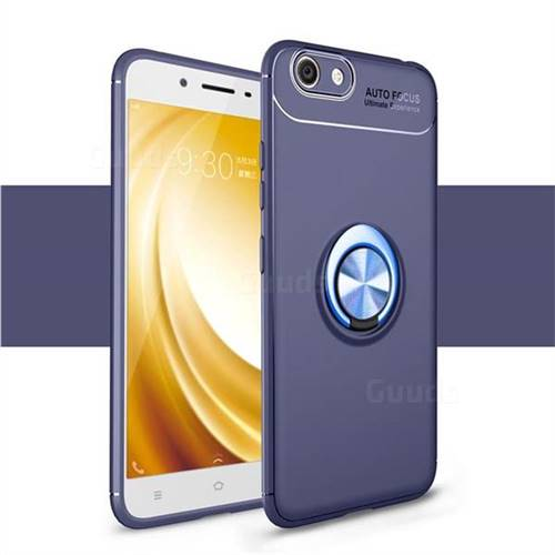 Auto Focus Invisible Ring Holder Soft Phone Case for Vivo Y53 - Blue