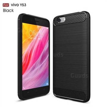 Luxury Carbon Fiber Brushed Wire Drawing Silicone TPU Back Cover for Vivo Y53 - Black