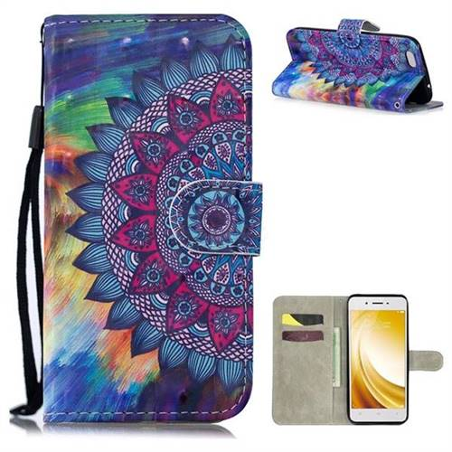Oil Painting Mandala 3D Painted Leather Wallet Phone Case for Vivo Y53 -  Leather Case - Guuds