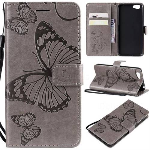Embossing 3D Butterfly Leather Wallet Case for Vivo Y53 - Gray