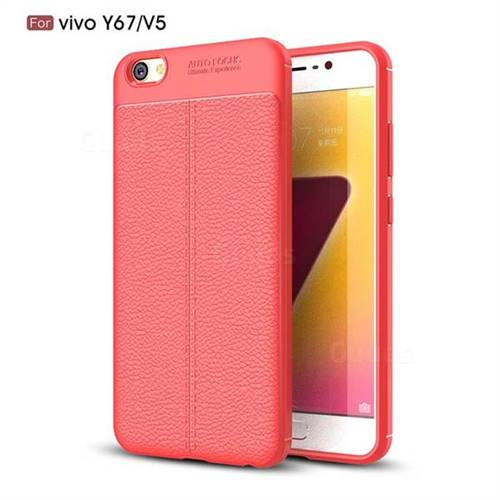 Luxury Auto Focus Litchi Texture Silicone TPU Back Cover for Vivo Y67 - Red