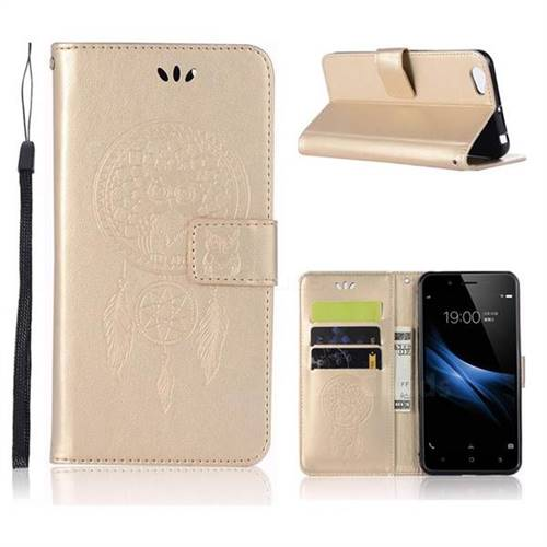 Intricate Embossing Owl Campanula Leather Wallet Case for Vivo Y67 - Champagne