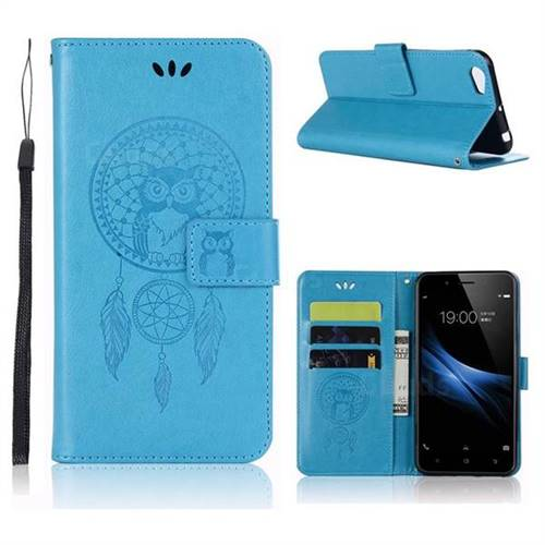 Intricate Embossing Owl Campanula Leather Wallet Case for Vivo Y67 - Blue
