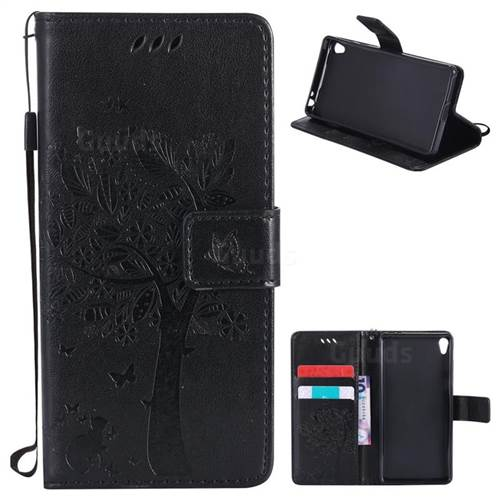 Embossing Butterfly Tree Leather Wallet Case for Sony Xperia E5 - Black