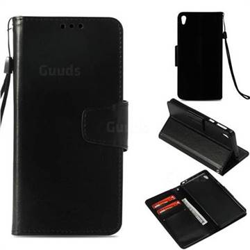 Retro Phantom Smooth PU Leather Wallet Holster Case for Sony Xperia E5 - Black