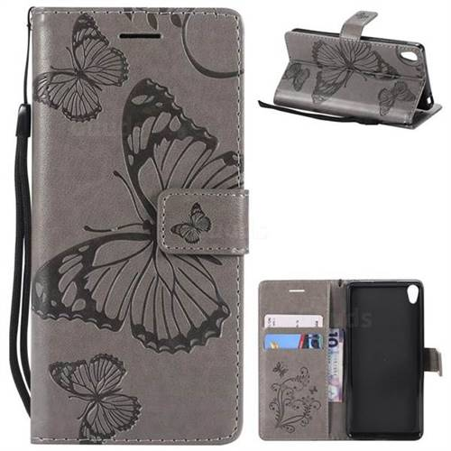 Embossing 3D Butterfly Leather Wallet Case for Sony Xperia E5 - Gray