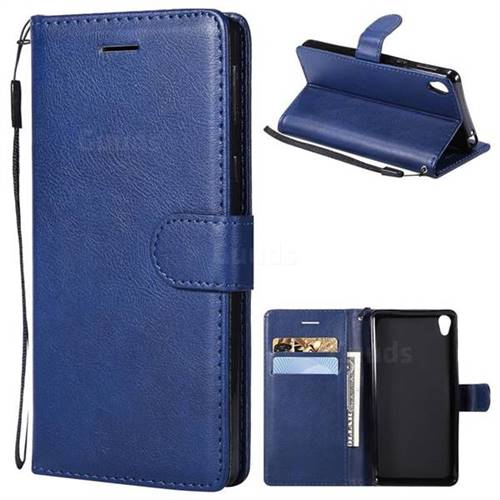 Retro Greek Classic Smooth PU Leather Wallet Phone Case for Sony Xperia E5 - Blue