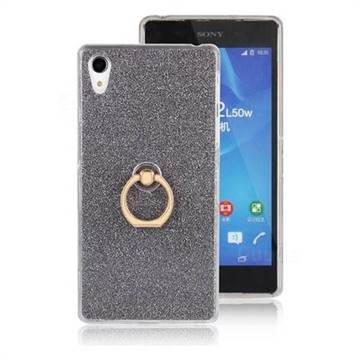 Luxury Soft TPU Glitter Back Ring Cover with 360 Rotate Finger Holder Buckle for Sony Xperia Z2 D6502 D6503 D6543 - Black