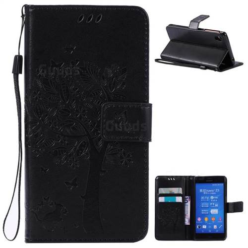 Embossing Butterfly Tree Leather Wallet Case for Sony Xperia Z3 - Black