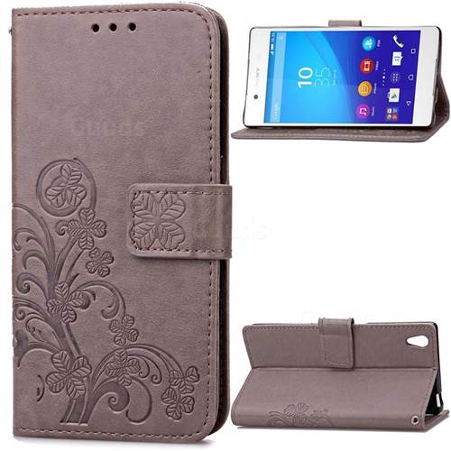 Embossing Imprint Four-Leaf Clover Leather Wallet Case for Sony Xperia Z3 - Gray