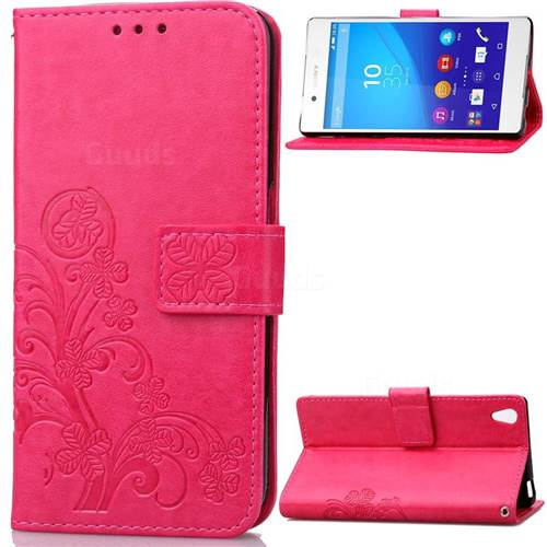 Embossing Imprint Four-Leaf Clover Leather Wallet Case for Sony Xperia Z3 - Rose