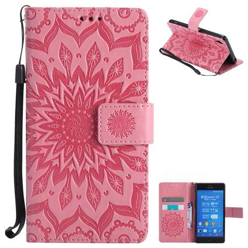Embossing Sunflower Leather Wallet Case for Sony Xperia Z3 - Pink