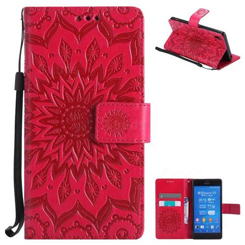 Embossing Sunflower Leather Wallet Case for Sony Xperia Z3 - Red